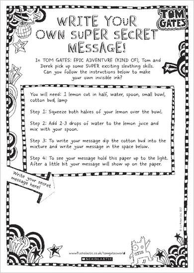 Tom Gates: Epic Adventure (Kind Of) - write your own secret message