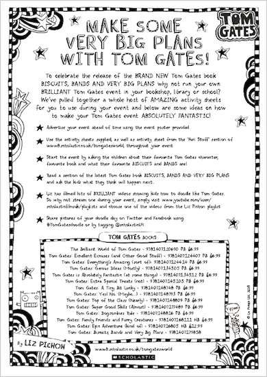 Tom Gates: Biscuits, Bands and Very Big Plans activity sheets