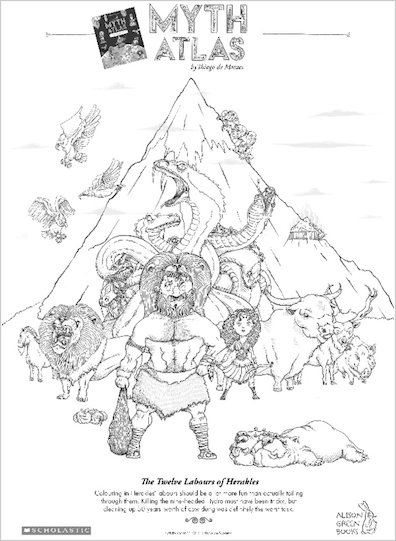 Myth Atlas colouring activity