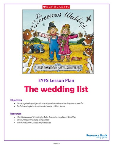 The Scarecrows Wedding The Wedding List Activity Pack