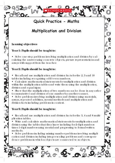 Quick Practice - Multiplication and Division (Digital Download Edition)