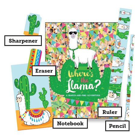 Where's the Llama? A Search-and-Find Adventure with Stationery Set