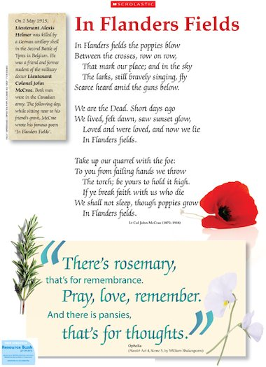 In Flanders Fields Poem By John Mccrae Free Primary Ks2 Teaching Resource Scholastic