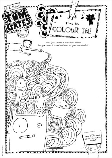 Tom Gates What Monster? Colour in activity sheet
