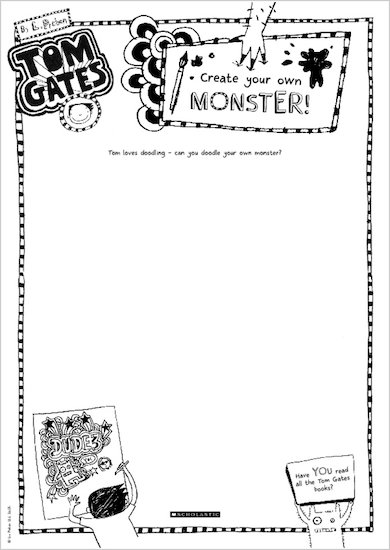 Tom Gates What Monster? Create your own monster activity sheet
