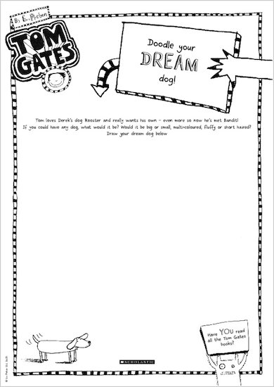 Tom Gates What Monster? Doodle your dream dog activity sheet