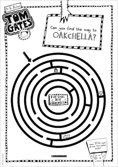 Tom Gates What Monster? Maze activity sheet