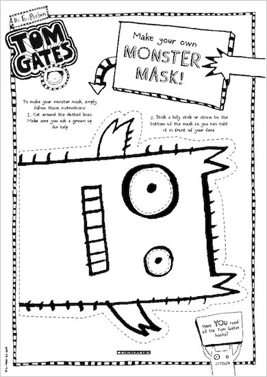 Tom Gates What Monster? Monster mask activity sheet