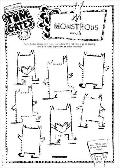 Tom Gates What Monster? Monstrous moods activity sheet