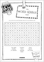 Tom Gates What Monster? Word Search activity sheet