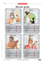 Greek gods game cards