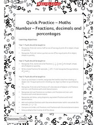 Quick Practice – Fractions, decimals, percentages