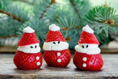 strawberry Santa - Making healthy xmas food
