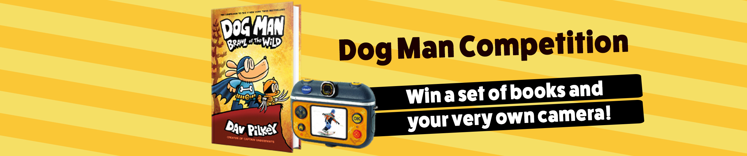 Dog Man competition spring 2019 banner desk