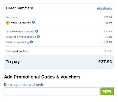 Order summary with 'Add Promotional Codes & Vouchers' section underneath