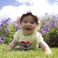 baby in a spring garden
