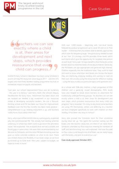 Case Study - Kirkhill Primary School - PM Reading Programme