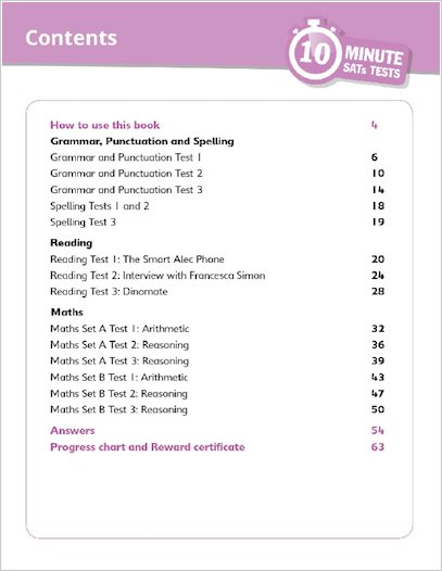 10-Minute SATs Tests: Grammar, Reading and Maths Year 3 Sample Pages