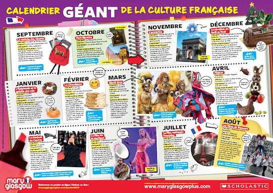 Calendrier Geant.Mary Glasgow Magazines Classroom Poster Calendrier Geant De Culture Francaise