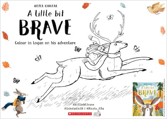 A Little Bit Brave activity sheet - colour in Logan and deer
