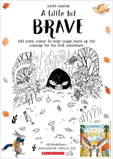 A Little Bit Brave activity sheet - colour in Logan in tree