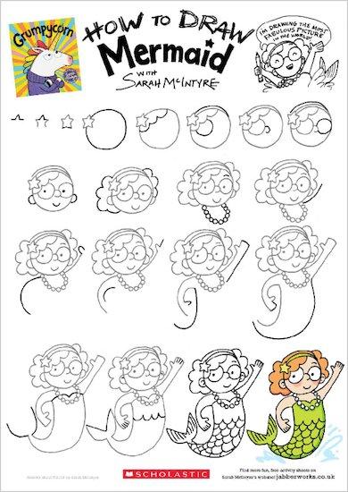 Grumpycorn activity sheet - how to draw Mermaid