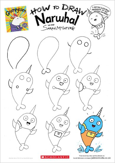 Grumpycorn activity sheet - how to draw Narwhal