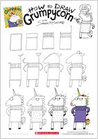 Grumpycorn activity sheet - how to draw Grumpycorn