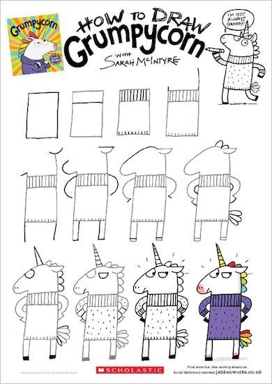 Grumpycorn activity sheet - how to draw Grumpycorn