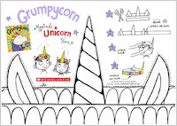 Grumpycorn activity sheet - colour in and make your own unicorn horn