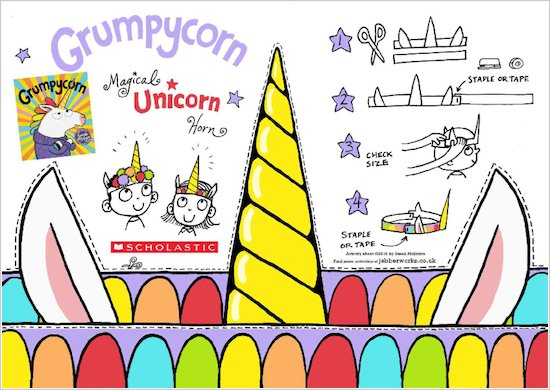 Grumpycorn activity sheet - make your own unicorn horn