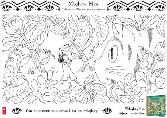 Mighty Min activity sheet - colour in Min and cat