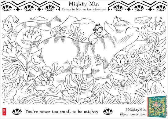 Mighty Min activity sheet - colour in Min on cat