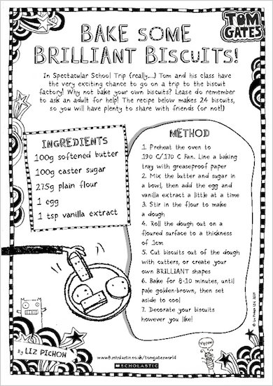 Tom Gates Spectacular School Trip (really...) activity sheet - bake some brilliant biscuits