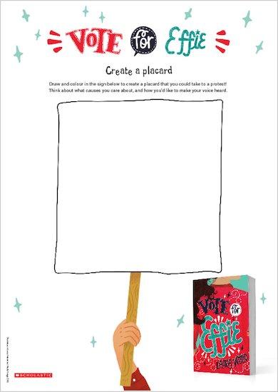 Vote for Effie placard design activity sheet