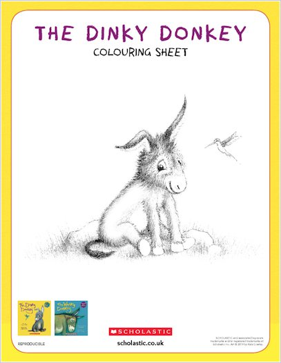 The Dinky Donkey activity sheet - colour in the Dinky Donkey