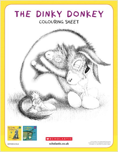 The Dinky Donkey activity sheet - colour in the Wonky Donkey and the Dinky Donkey