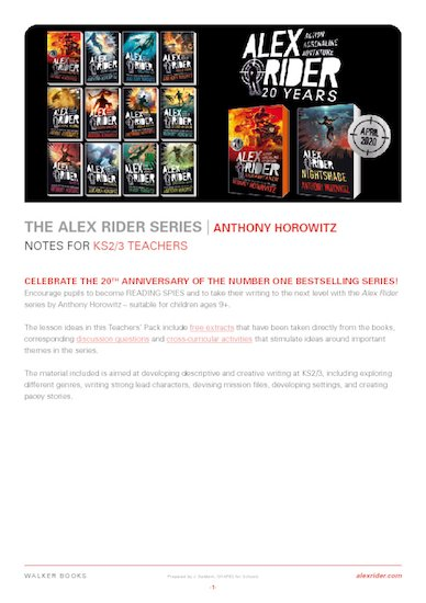 Alex Rider 20th anniversary teacher's notes