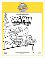Dog Man Brawl of the Wild Colouring Sheet