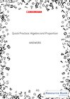Quick Practice – Algebra and Proportion – Answers