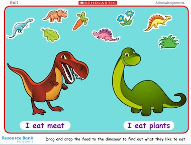Feed the dinosaurs interactive game