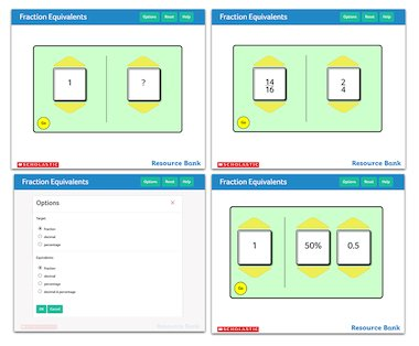 Fraction Equivalents - interactive maths tool