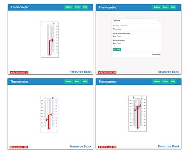 Thermometer - interactive maths tool