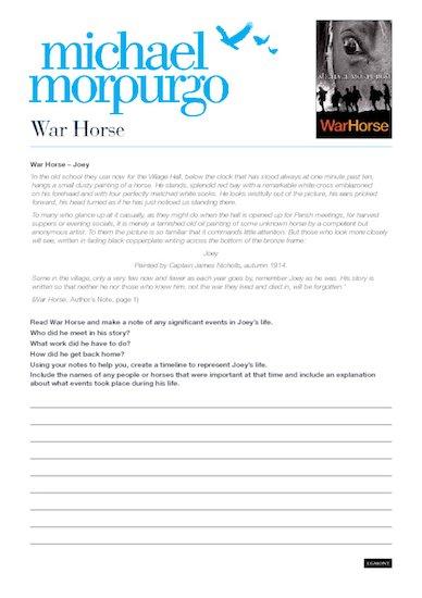 War Horse activity sheet