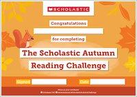 Scholastic Autumn Reading Challenge Certificate
